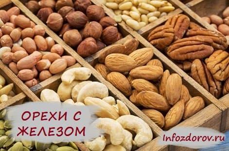 В каких орехах больше всего железа