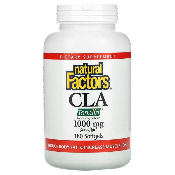 Natural Factors, CLA, смесь с конъюгированной линолевой кислотой, 1000 мг, 180 мягких капсул